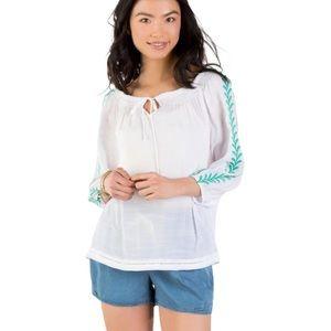 Francescas Cadence embroidered leaf vine blouse s